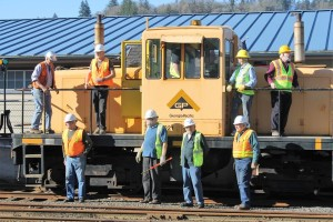 L-R (ground) - Lane, Glen, Allan, Bill; (loco) Lloyd, Mark, James (in cab) Alan and Ralph. About 570 years of experience depicted. — with Lane Plotner, Mark Seibert, James Mckinley, Allan Preece and Ralph Grutzmacher.